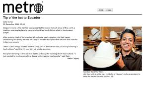 Tip o' the hat to Ecuador | Media Mentions