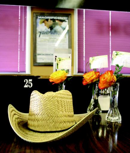 A cowboy hat worn by Brokeback Mountain star Heath Ledger sits on Table 25 in the Java Shop alongside roses sent by an admirer following the actor's death. Photo by Frank McTighe, The Macleod Gazette.