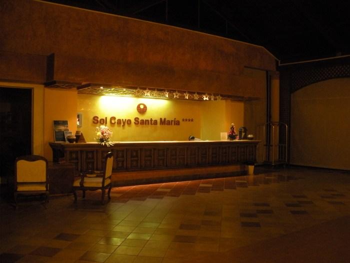 Reception desk at Sol Cayo Santa Maria resort, Cuba