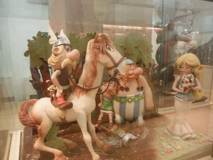 Chocolate display inside Museum  of Chocolate (Museu de la Xocolata)