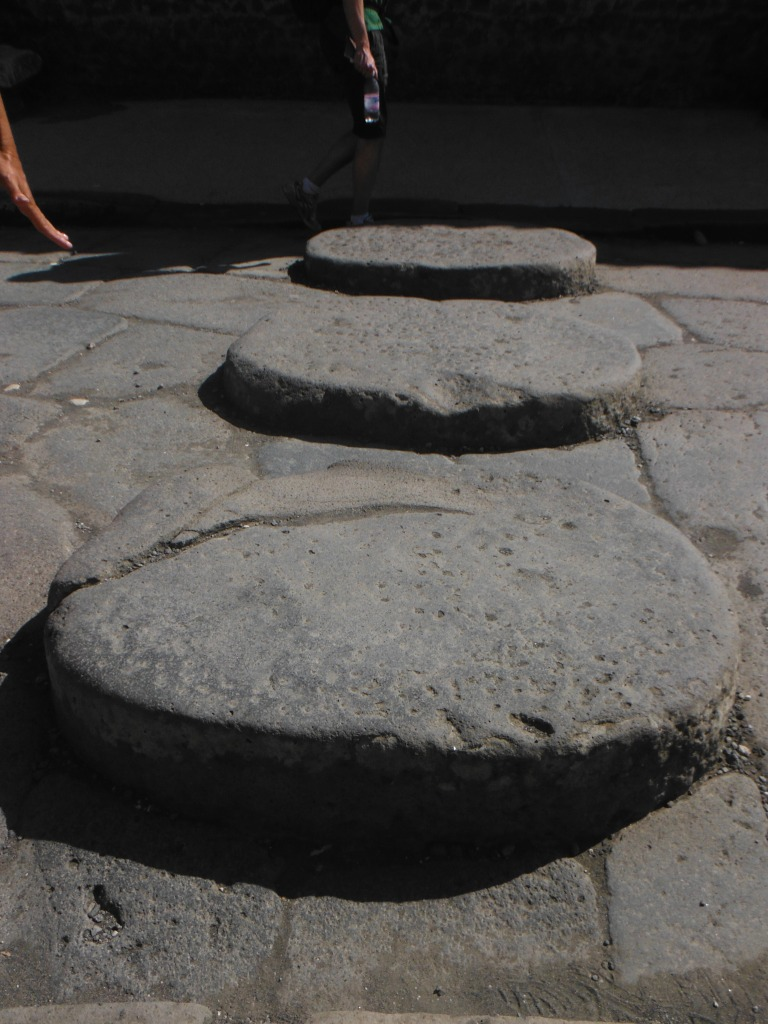 These raised stones were intended to be walking stones to cross the streets when the ground was covered with snow and ice