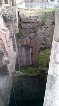 This is a Roman era ruin excavated in the heart of the city's commercial avenue. The depth you can see indicates the ruins exist below the current modern city of Rome. Around 70% of the ancient ruins have not been excavated to date!