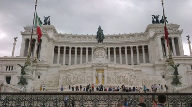 "Monumento Nazionale a Vittorio Emanuele II (National Monument to Victor Emmanuel II) or Altare della Patria (Altar of the Fatherland). Commonly known as the ""wedding cake"" building."