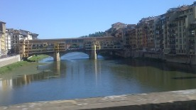 Pedestrian walkway and market over River Arno in Florence