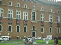 The balcony from which Mussolini delivered his famous speech during the World War
