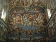 """Inside the famous Sistine Chapel. The original work by Michelangelo showed all characters in the nude. However, due to prudish decency laws prevalent at the Church in those days, additional artists were commissioned to """"cover up"""" the nude parts. These artists were called the """"underwear painters""""!"""