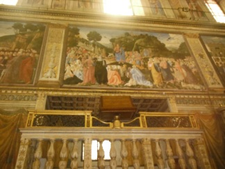 Walking through Vatican Museum {Note: This is an interesting tapestry work by Raphael. No matter which direction you see the image from, the eyes of all the people in the work will always look towards you!}