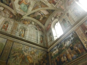 The famous Sistine Chapel by Michelangelo {Note: Camera flash use is officially prohibited but when inside everyone ends up using it due to lighting conditions. It is hard to enforce prohibition. However, I leave you to do the right thing as flash is slowly damaging the famous artwork and eventually may be closed to public}