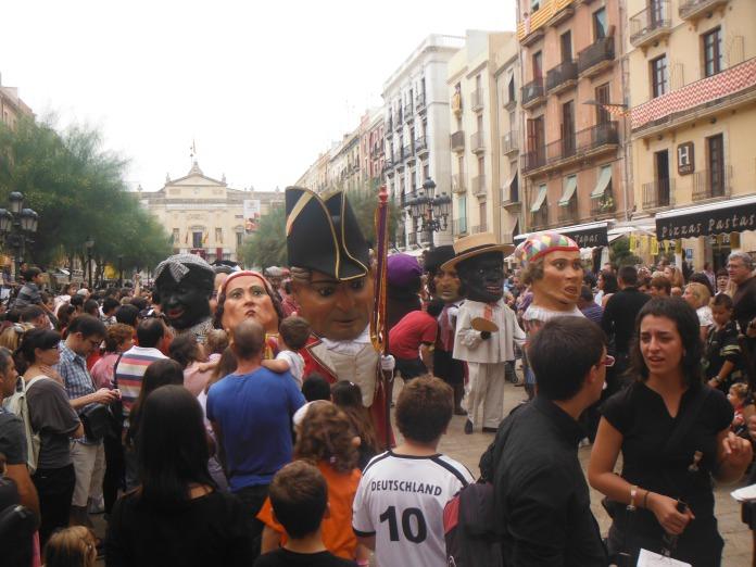 Famous Santa Tecla Festival on streets of Tarragona, Catalonia. It is like Mardi Gras of New Orleans and Carnivale of Rio.